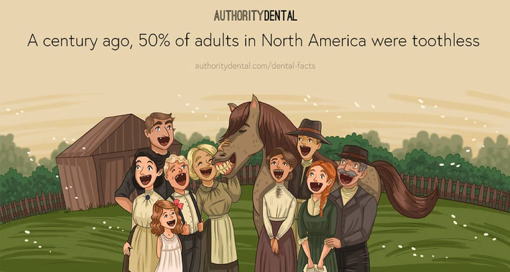 Cartoon showing frontier people standing around a horse and sporting gap toothed smiles.