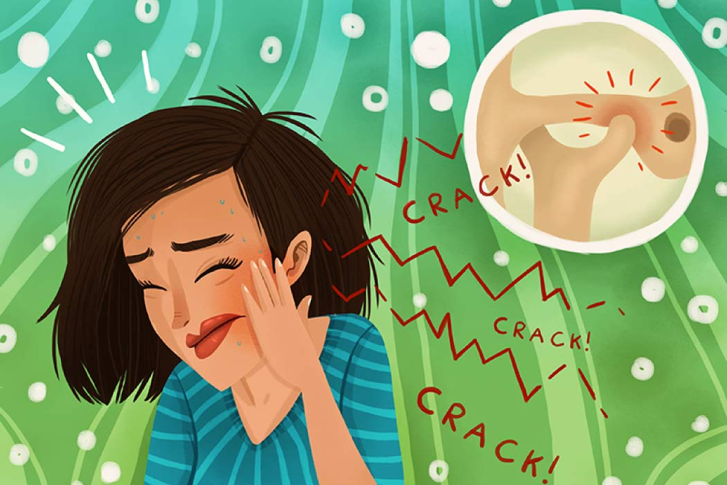 Cartoon of a girl suffering from TMJ/TMD with a circle showing a close up of the joint.